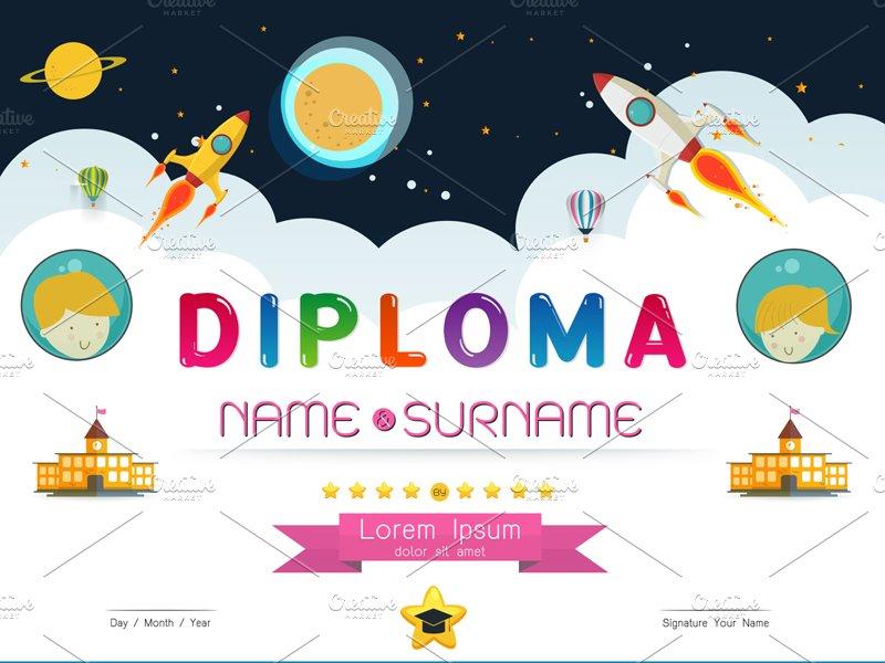 certificate kids diploma flyer templates creative market