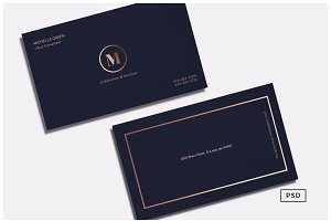 Navy Blue Metallic Business Card