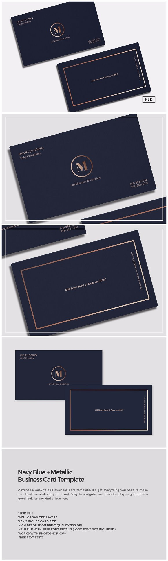 Navy Blue Metallic Business Card ~ Business Card Templates ...