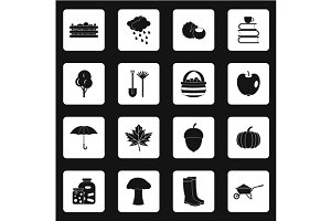 Autumn icons set, simple style