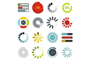 Download progress bar icons set