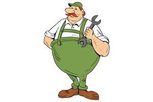 German Repairman Spanner Standing
