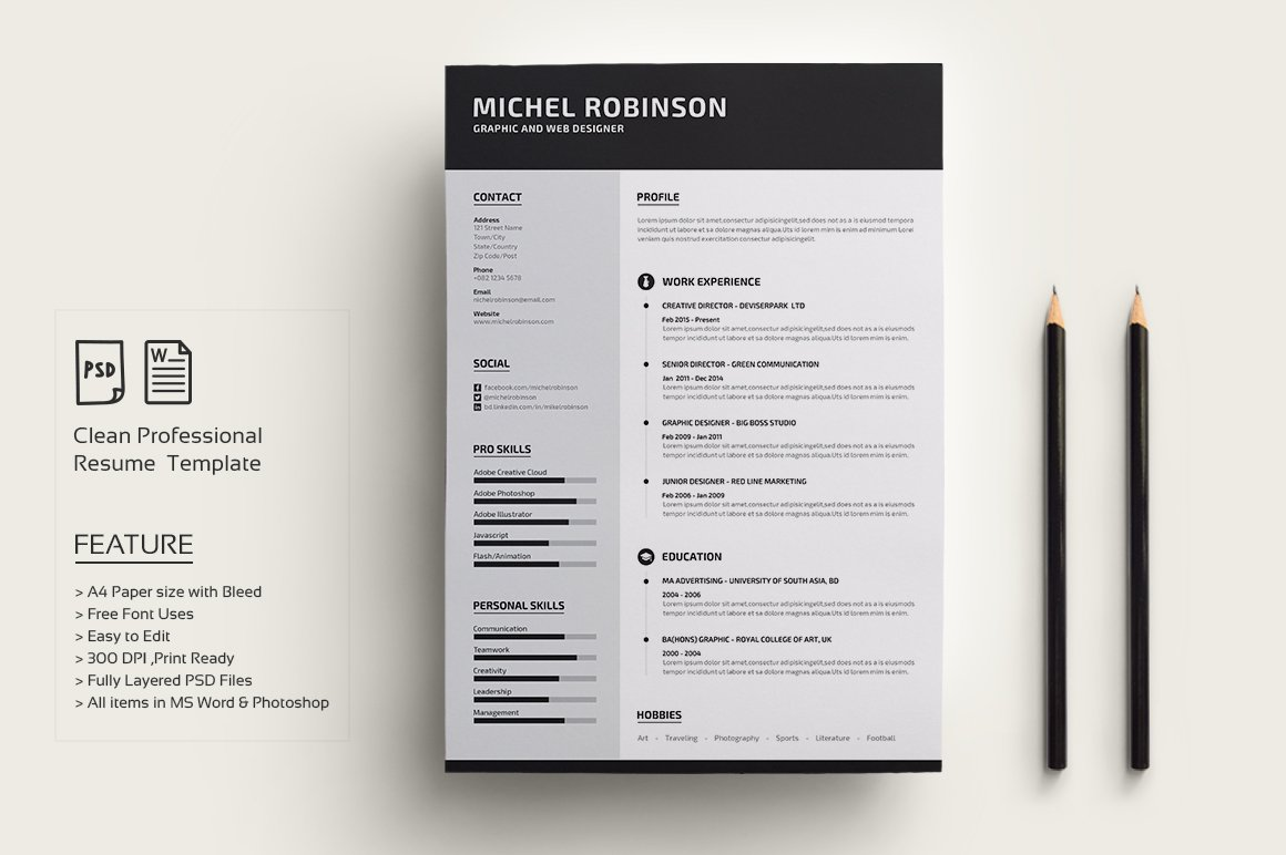 Modern Resume Cv Creative Photoshop Templates Creative Market