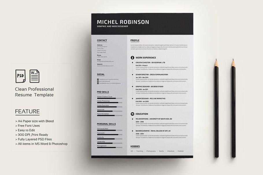 Modern Resume/CV ~ Resume Templates ~ Creative Market