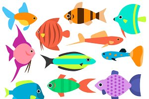 Fishes vector icons