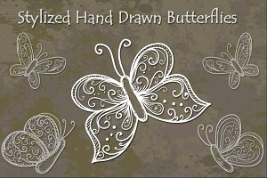 Stylized Hand Drawn Butterflies