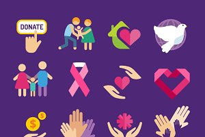 Charity vector logo icons