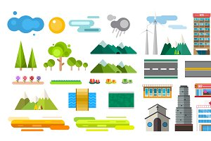 Roads and city buildings vector