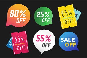 Sale off vector tags banner