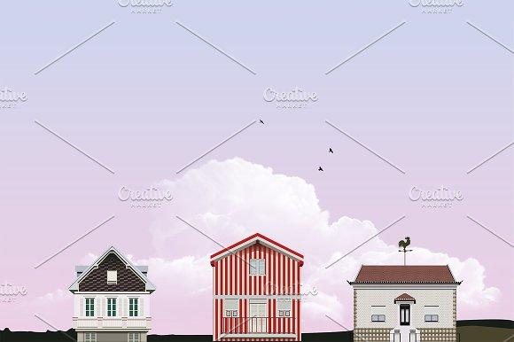3 cute vector fairy houses
