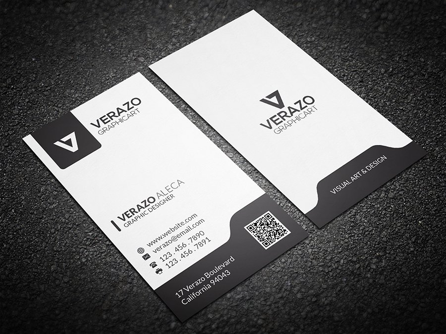 Black White Vertical Business Card Business Card Templates - Business card vertical template