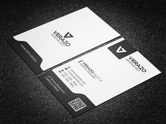 black white vertical business card business card templates creative market - Vertical Business Cards