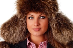 woman in fur cap with ear flaps