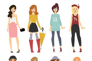 Vector cartoon fashion girl