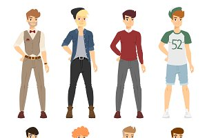 Vector cartoon fashion boy