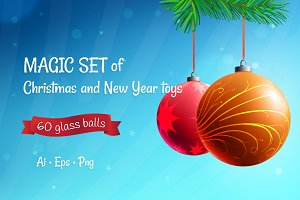 Christmas and New Year glass balls