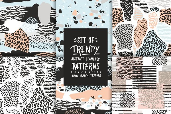 Set of abstract seamless patterns.