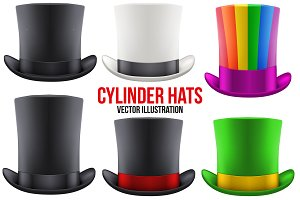 Set of Gentelmen Hats Cylinder