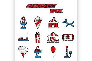 Amusement park flat icon set