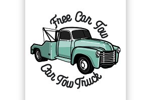Color vintage car tow truck emblem