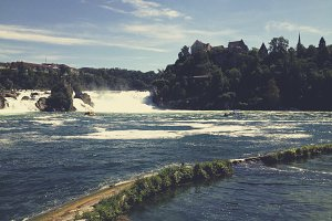 Rheinfall Waterfall  and a Castle