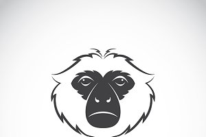 Vector image of a gibbon head design