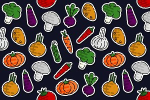 Colored vegetables pattern