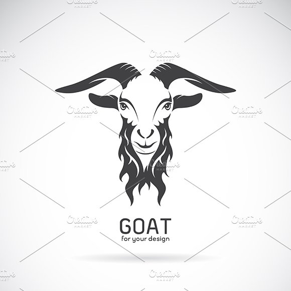 Vector image of a goat head design.