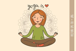 Yoga girl in lotus position in eps10