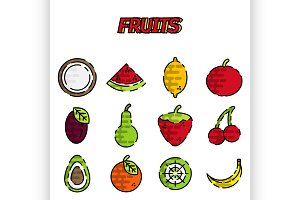 Fruits flat icon set