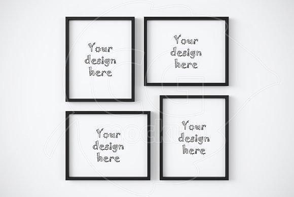 Four black collage frames mockup ~ Product Mockups ~ Creative Market