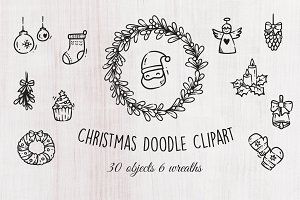 Christmas doodle objects