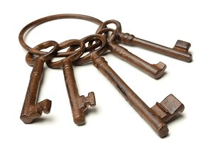 Rusty old keys isolated