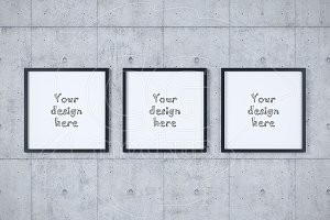 Set of three square frames mockup