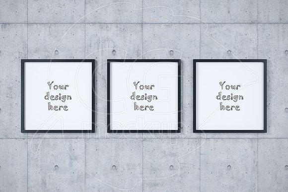 Set of three square frames mockup ~ Product Mockups ~ Creative Market
