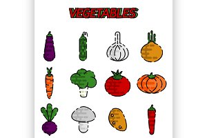Vegetables flat icon set