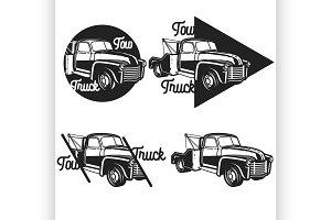 Vintage car tow truck emblems