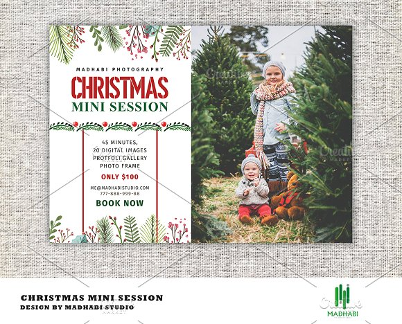 Christmas Mini Session Template Flyer Templates Creative Daddy