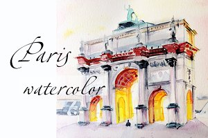 Paris illustration architecture Arc