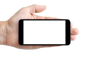 Smartphone with blank screen in hand