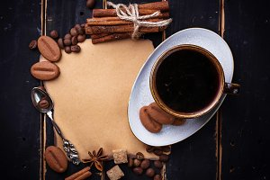Coffee, cinnamon, vintage paper