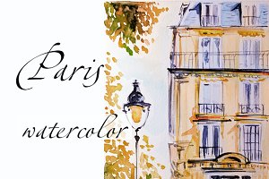 Paris autumn watercolor