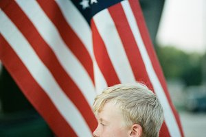 American Made boy with flag