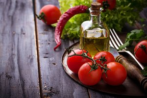 Cherry tomatoes, parsley and oil