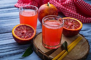 Glasses of blood orange juice