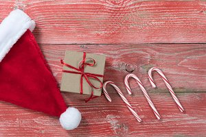 Xmas Objects on red wood