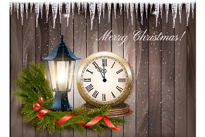Christmas background with a lantern