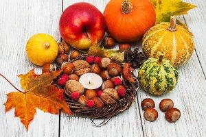 Hazelnuts and pumpkins