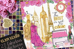 New Year's Glam Watercolor Clipart