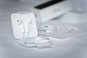 Close up Apple EarPods